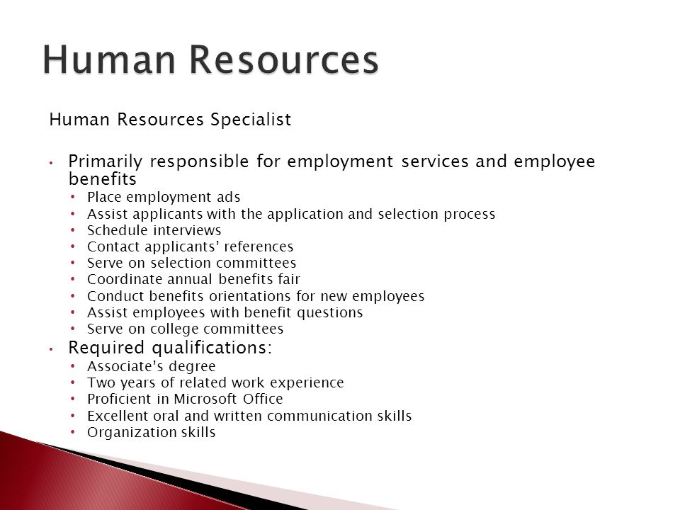 Human Resources Human Resources Specialist