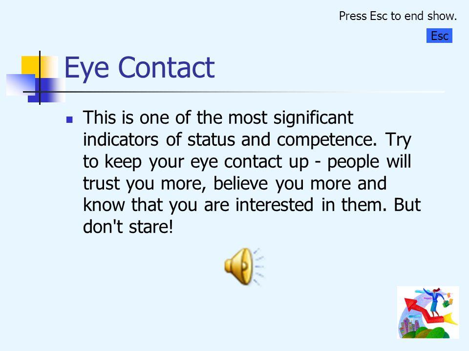 Press Esc to end show. Eye Contact. Esc.