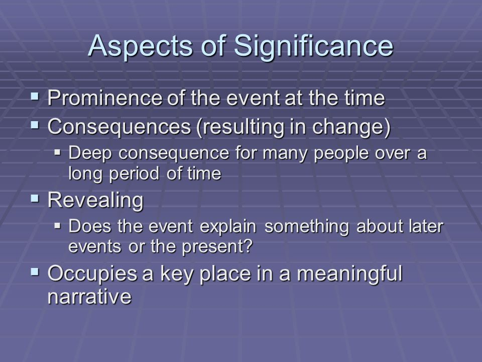Aspects of Significance