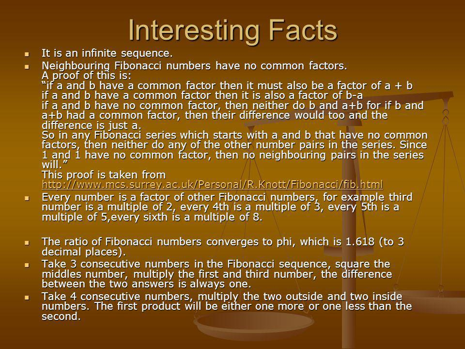Interesting Facts It is an infinite sequence.