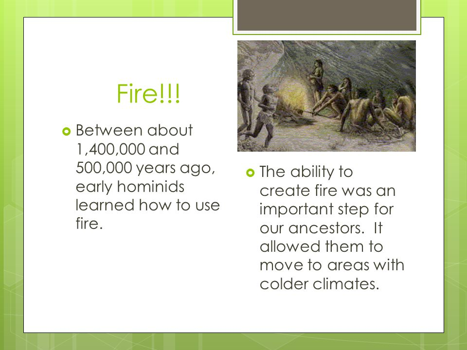 Fire!!! Between about 1,400,000 and 500,000 years ago, early hominids learned how to use fire.
