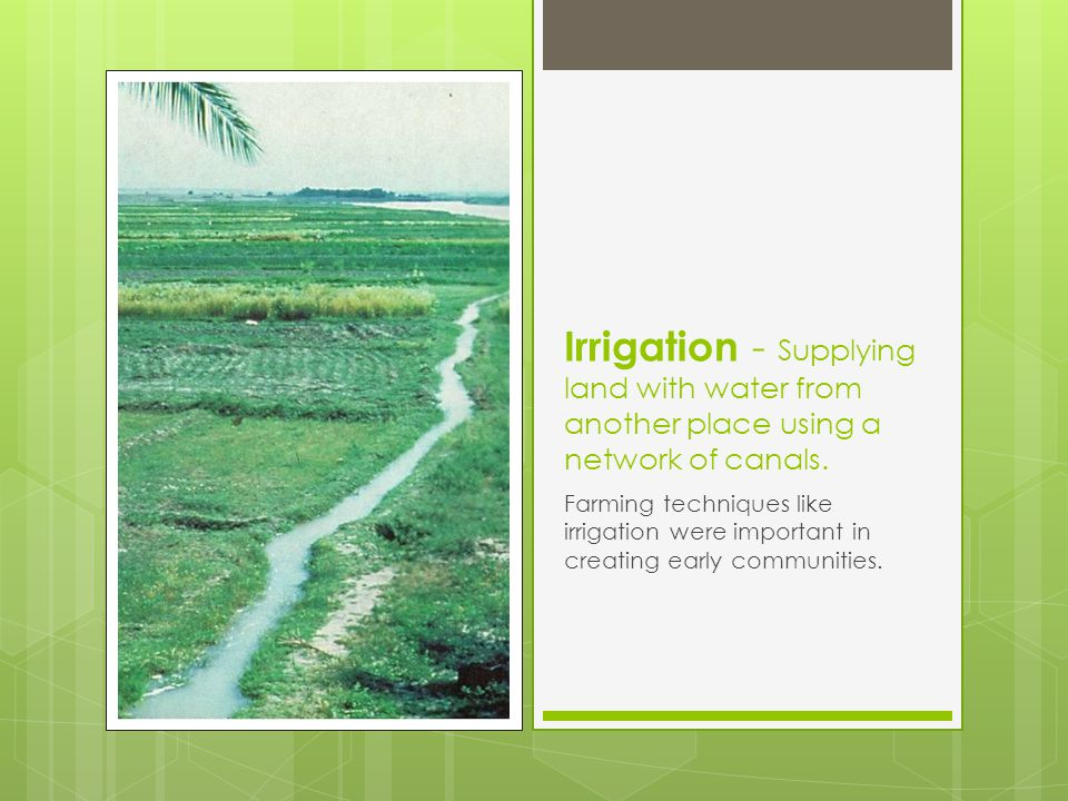 Irrigation - Supplying land with water from another place using a network of canals.