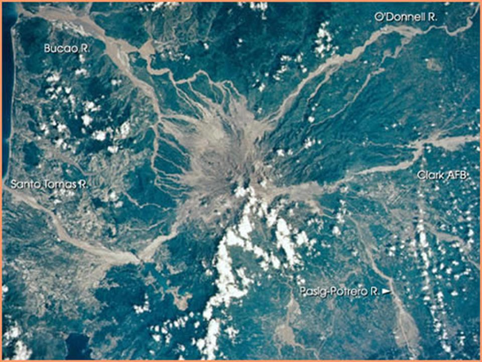 Photo shows Mt Pinatubo (center) as seen from above