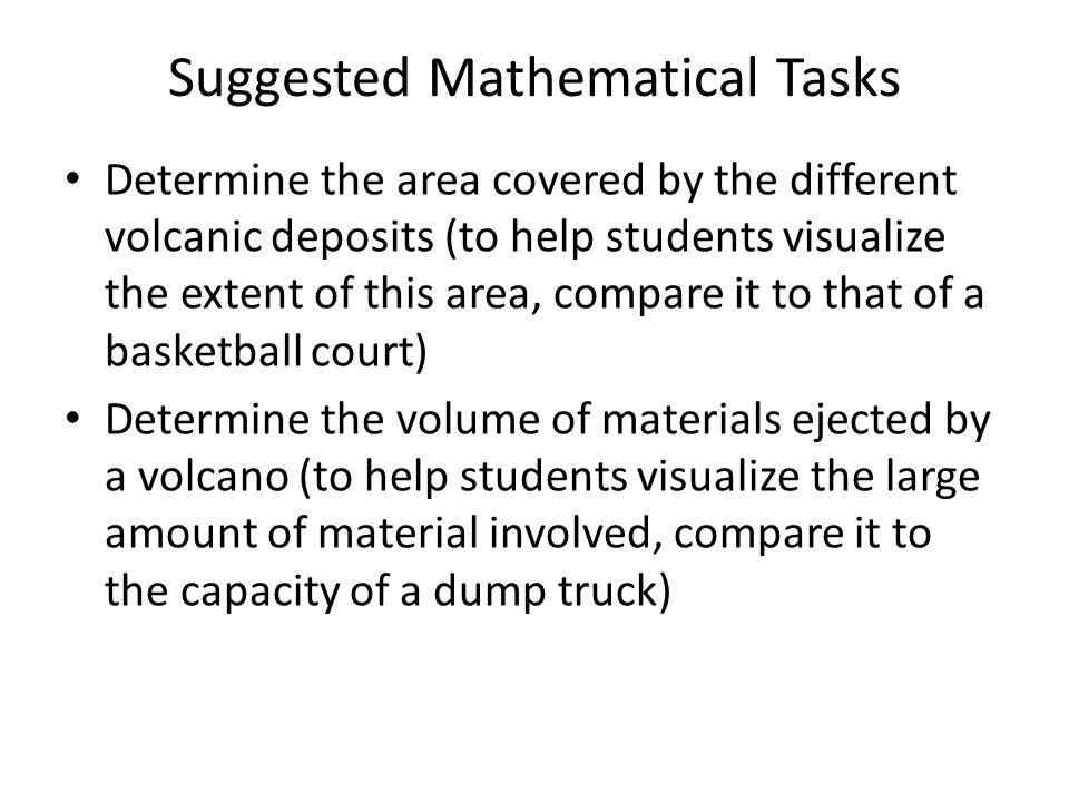 Suggested Mathematical Tasks