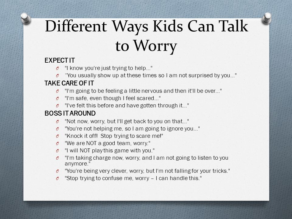 Different Ways Kids Can Talk to Worry