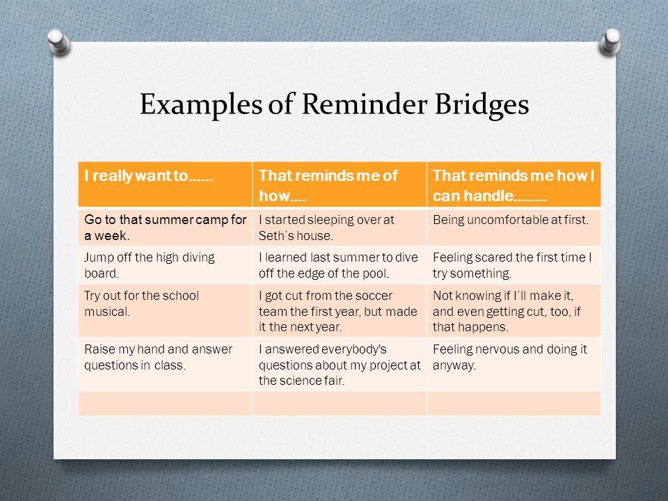 Examples of Reminder Bridges