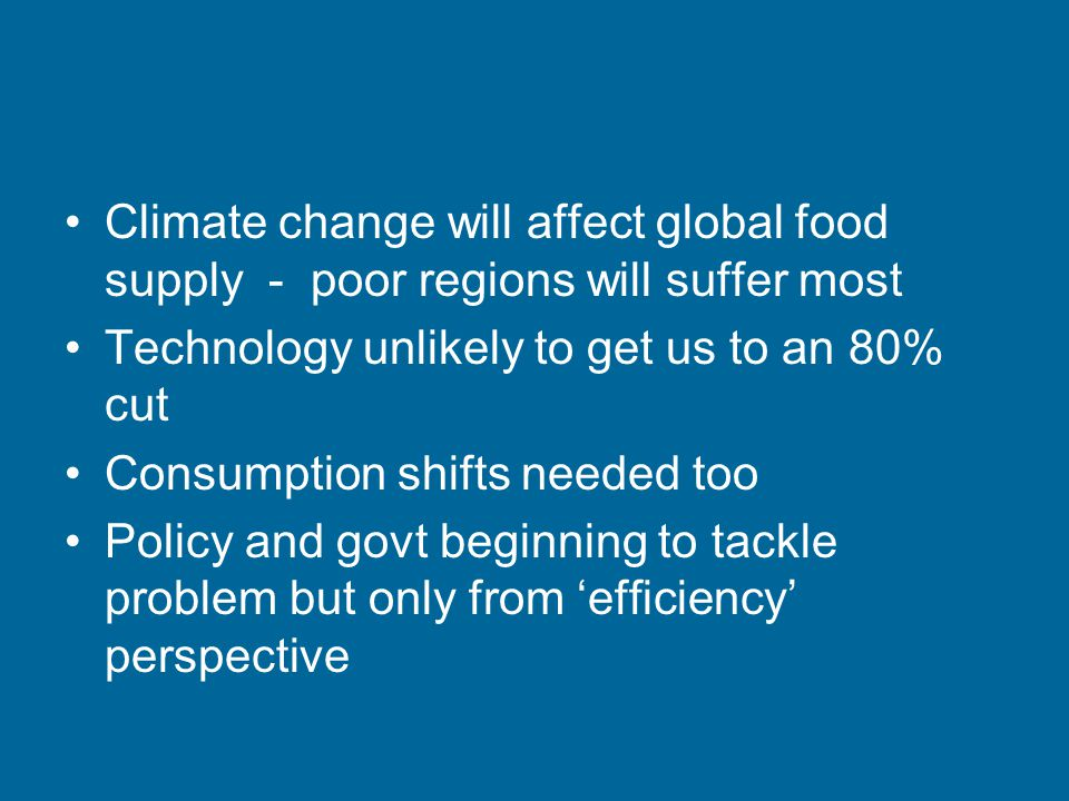 Climate change will affect global food supply - poor regions will suffer most