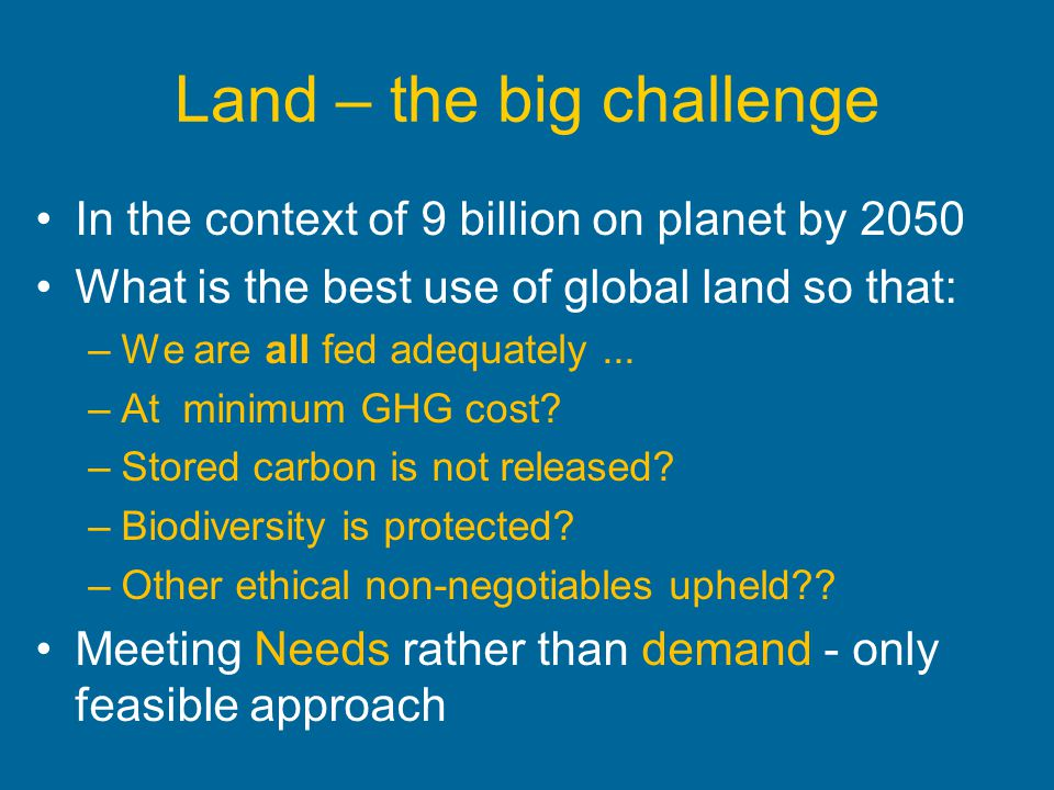 Land – the big challenge
