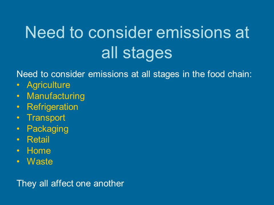 Need to consider emissions at all stages
