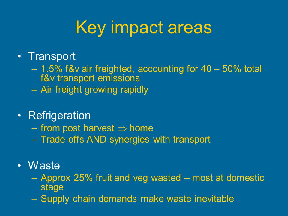Key impact areas Transport Refrigeration Waste