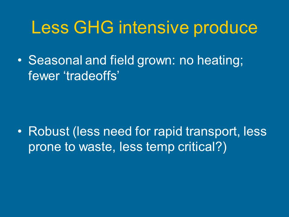 Less GHG intensive produce