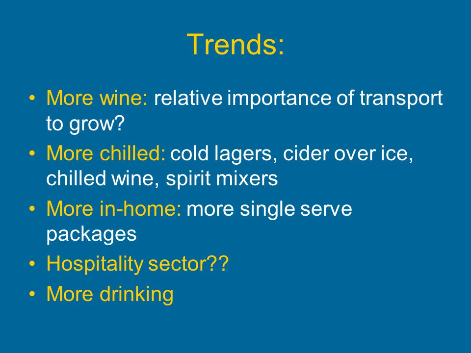 Trends: More wine: relative importance of transport to grow