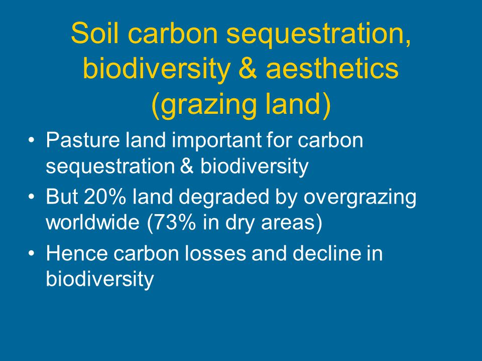 Soil carbon sequestration, biodiversity & aesthetics (grazing land)