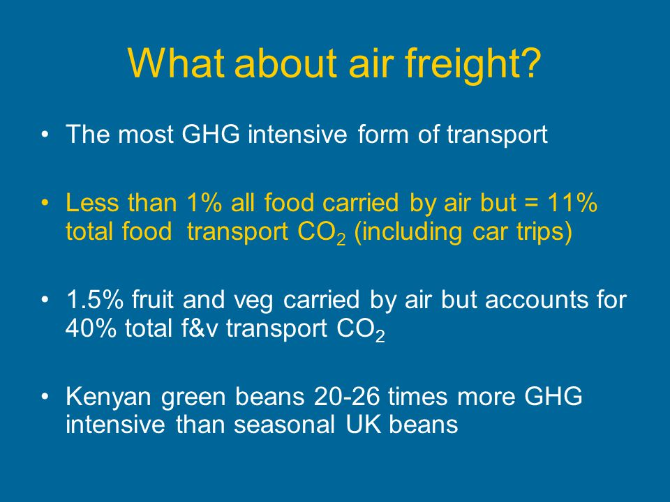 What about air freight The most GHG intensive form of transport