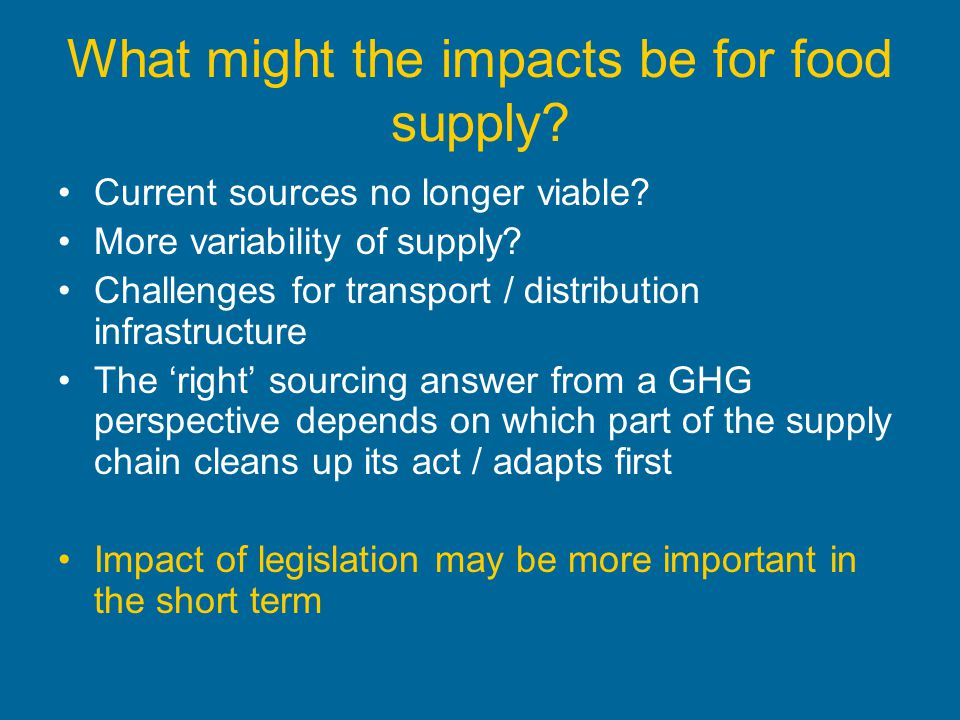 What might the impacts be for food supply