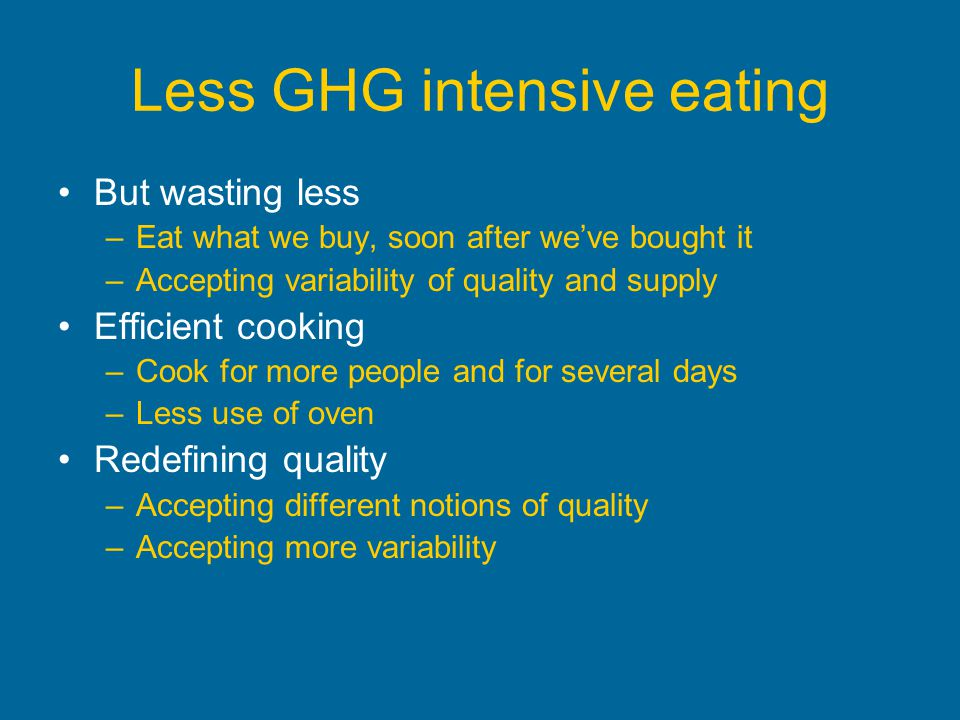 Less GHG intensive eating