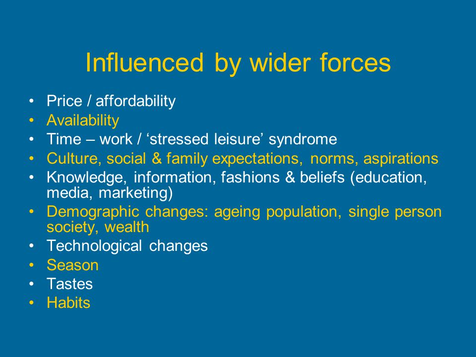Influenced by wider forces