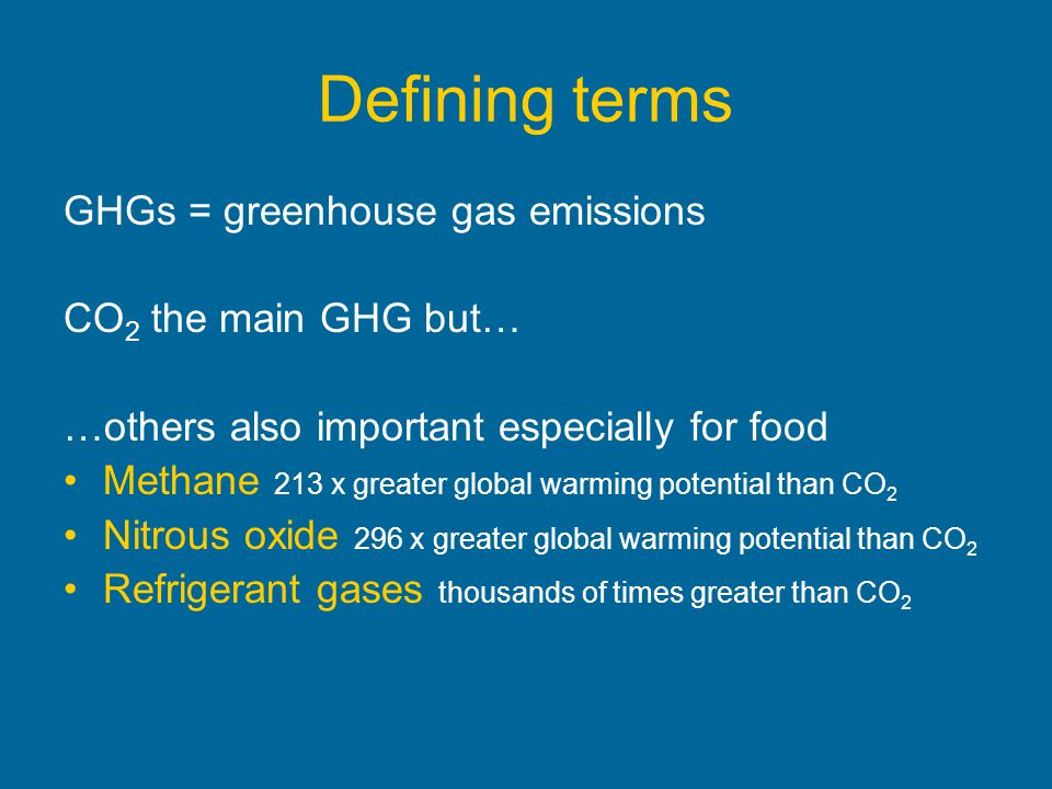 Defining terms GHGs = greenhouse gas emissions CO2 the main GHG but…