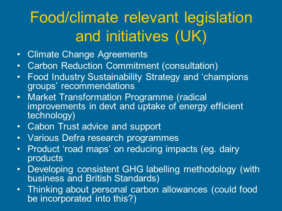 Food/climate relevant legislation and initiatives (UK)
