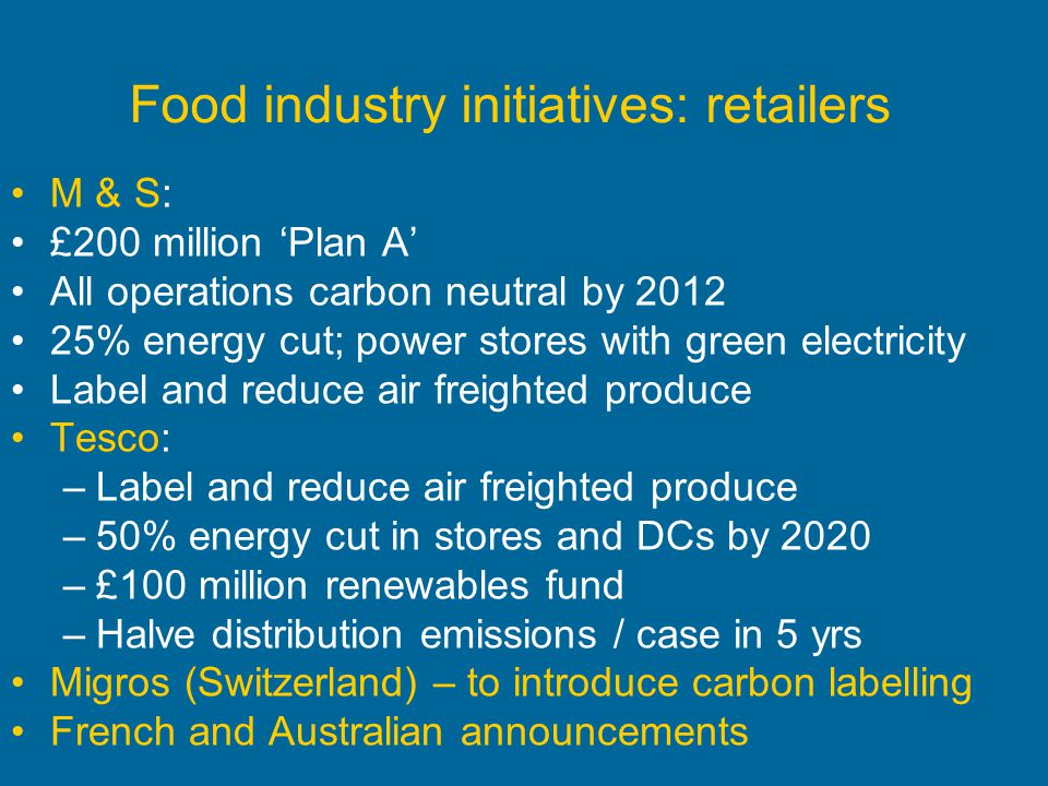 Food industry initiatives: retailers