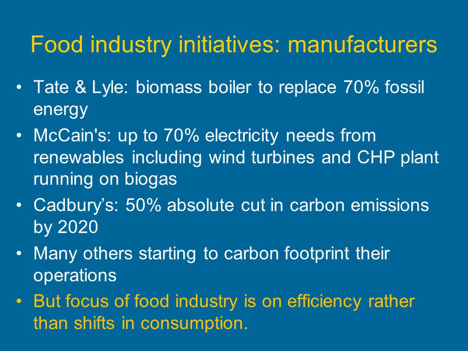Food industry initiatives: manufacturers