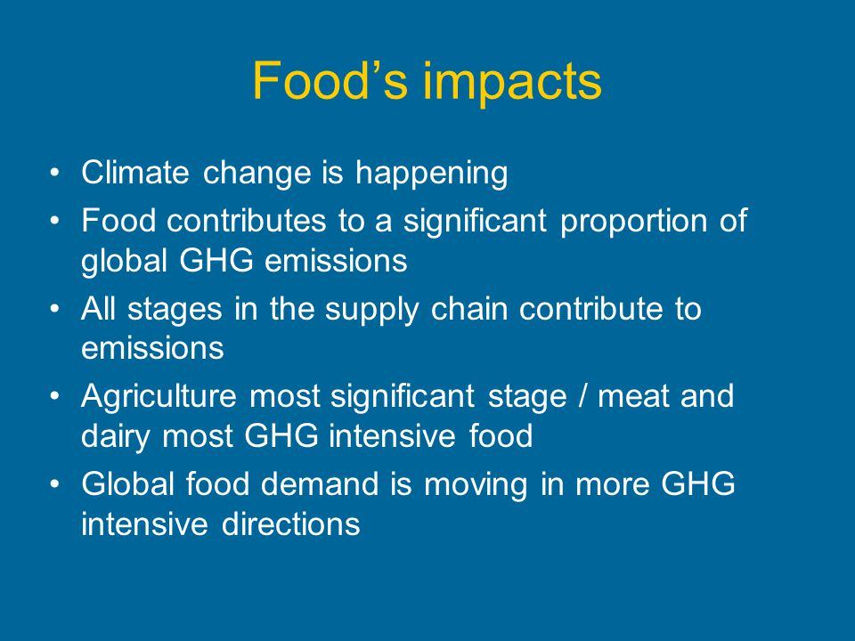 Food's impacts Climate change is happening