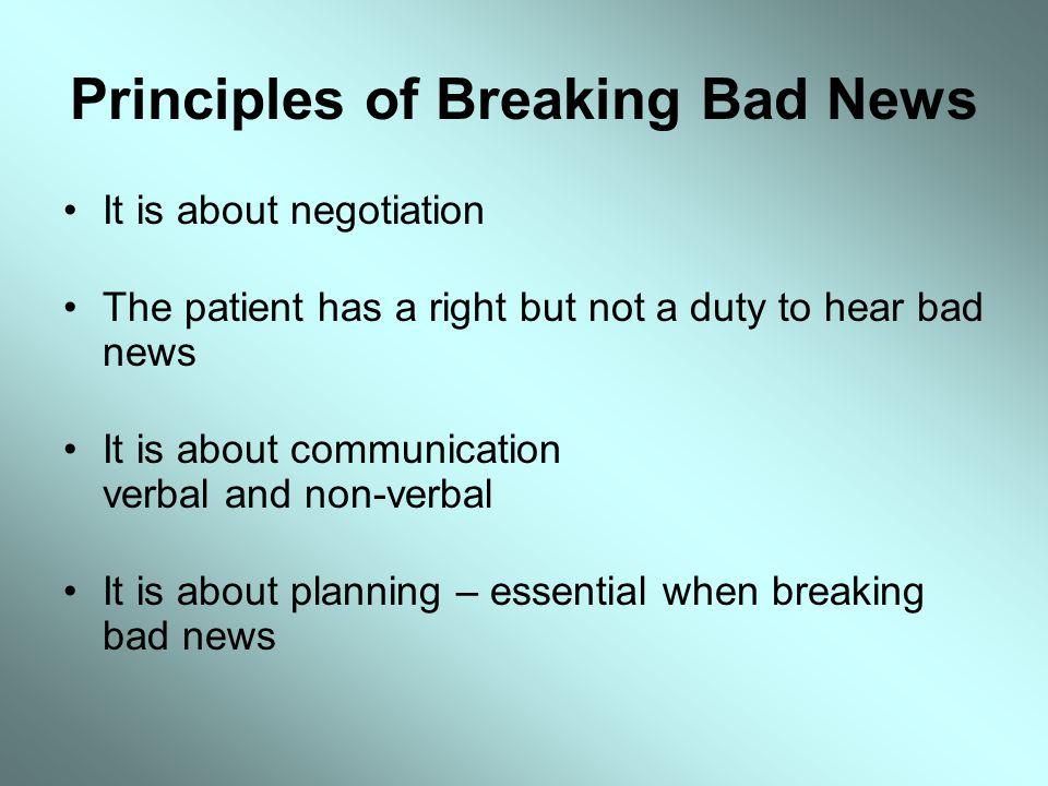 Principles of Breaking Bad News