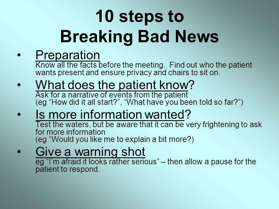 10 steps to Breaking Bad News