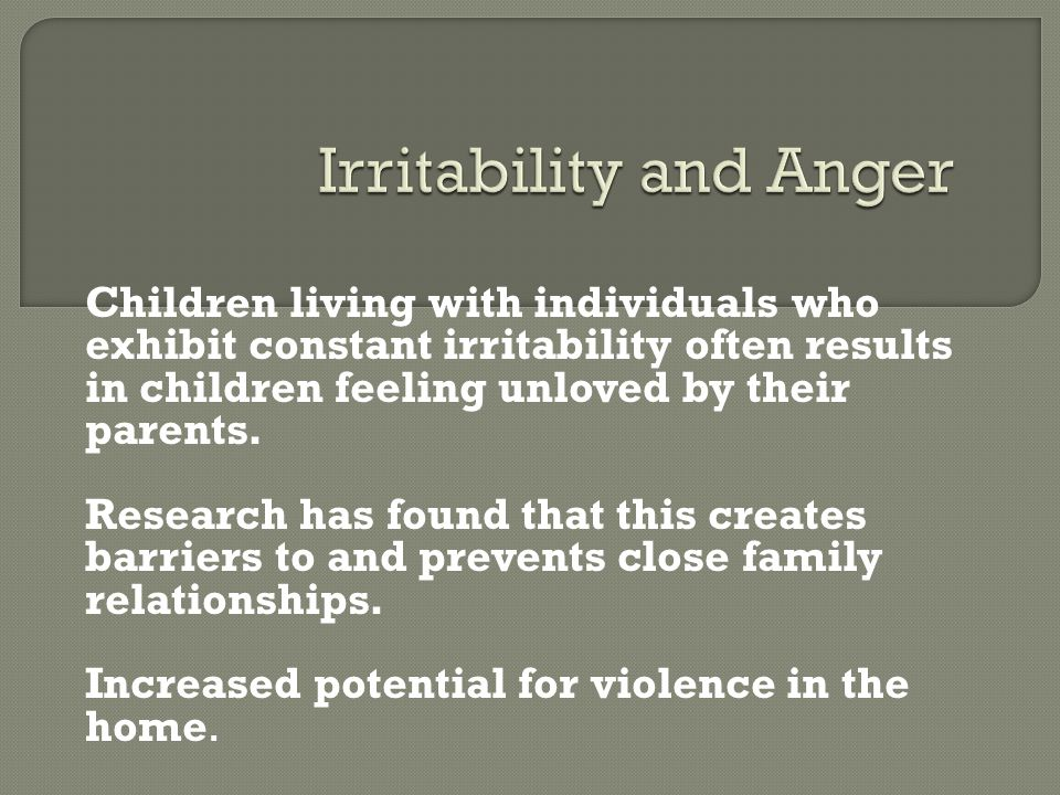 Irritability and Anger