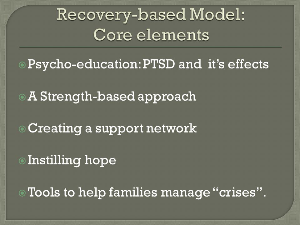 Recovery-based Model: Core elements