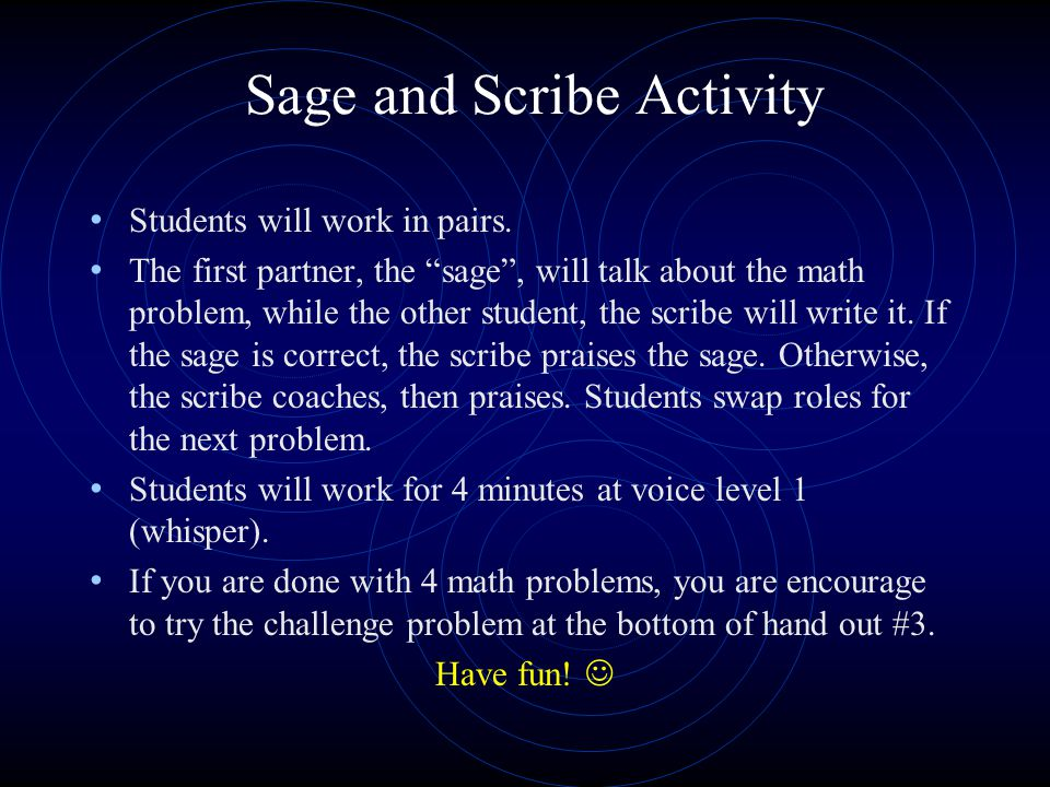 Sage and Scribe Activity