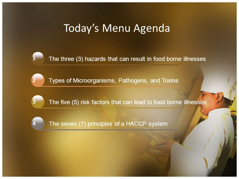 Today's Menu Agenda 1. The three (3) hazards that can result in food borne illnesses. 2. Types of Microorganisms, Pathogens, and Toxins.