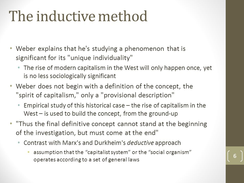 The inductive method Weber explains that he s studying a phenomenon that is significant for its unique individuality