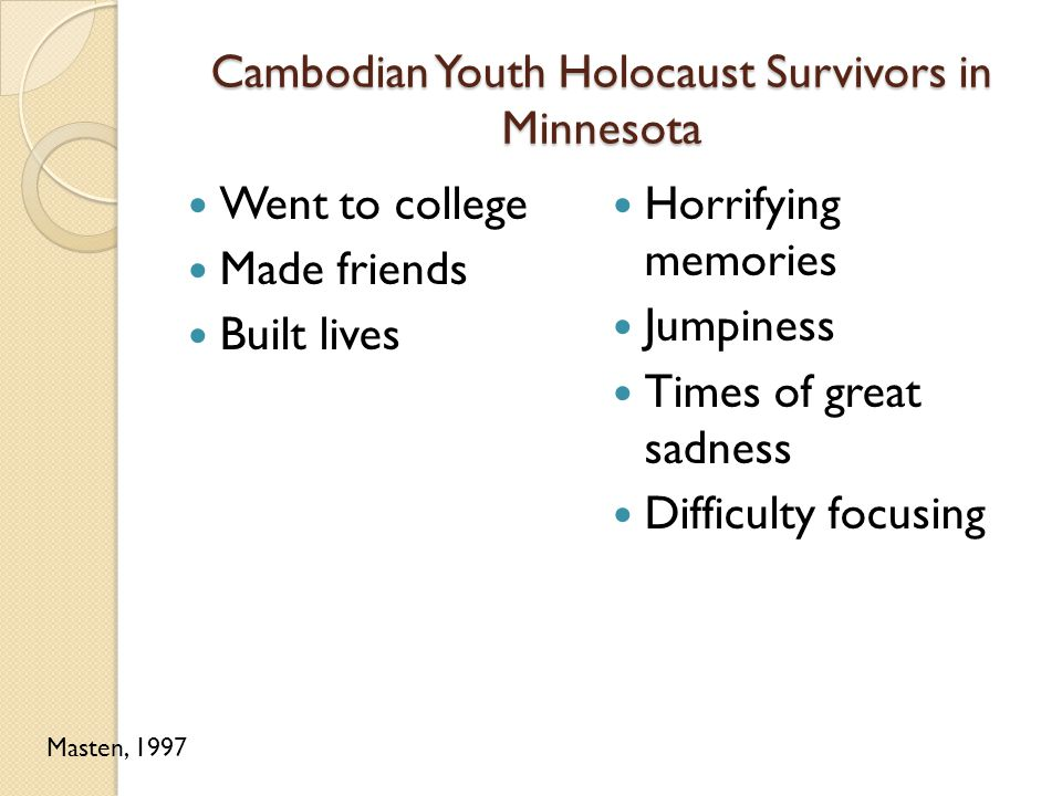 Cambodian Youth Holocaust Survivors in Minnesota