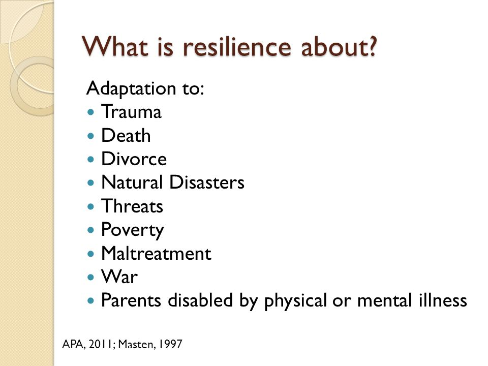 What is resilience about