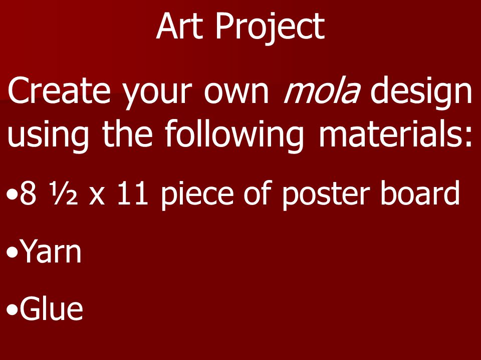 Create your own mola design using the following materials: