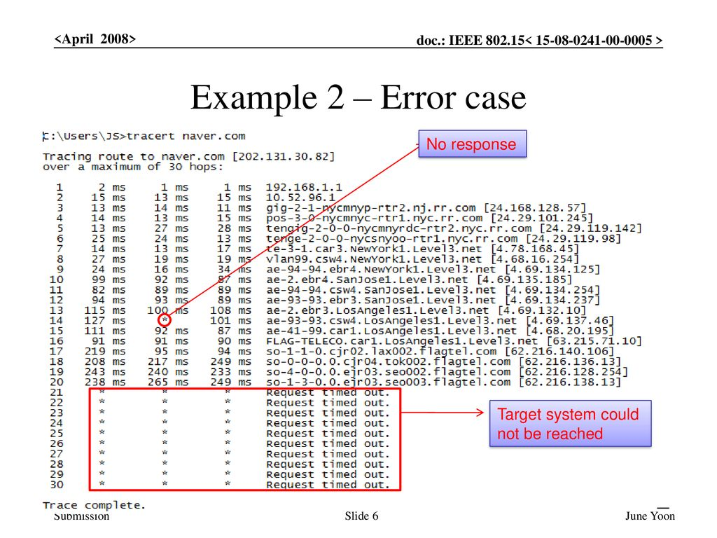Example 2 – Error case No response Target system could not be reached