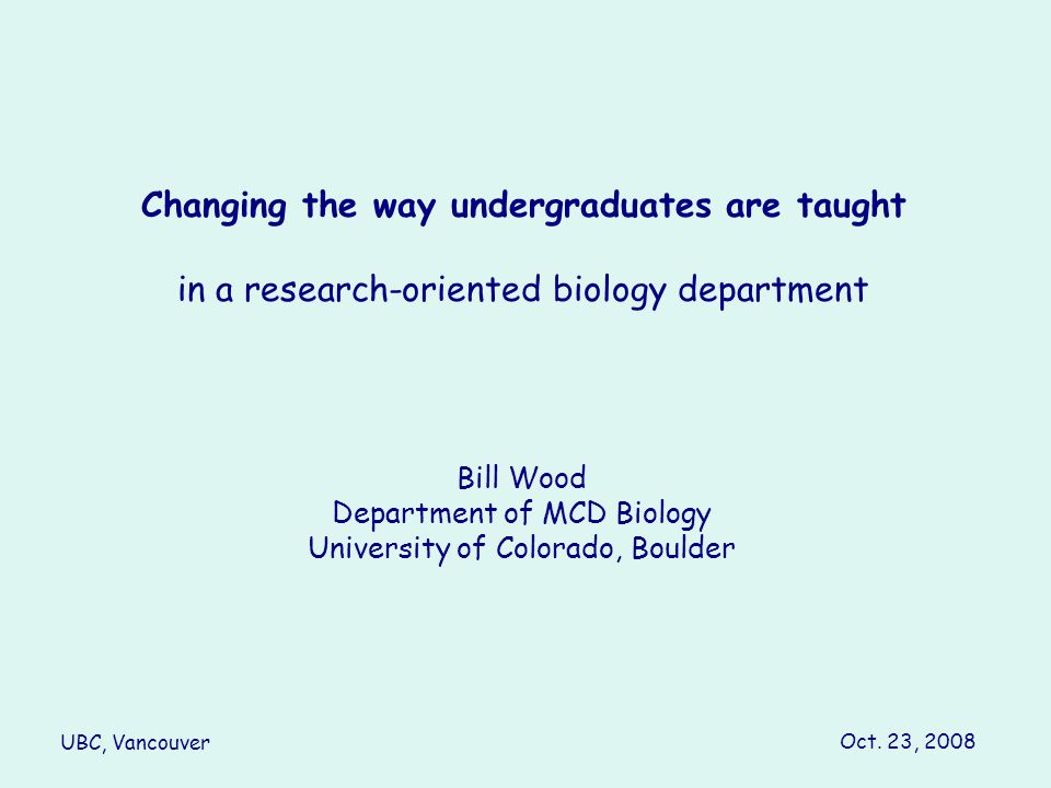 Changing the way undergraduates are taught
