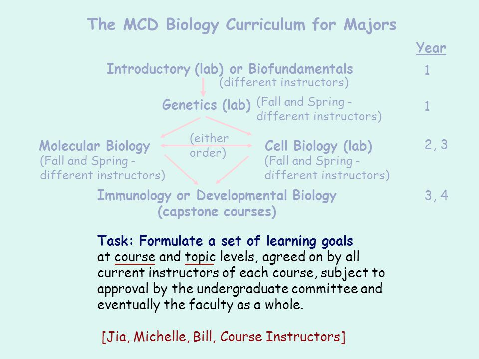 The MCD Biology Curriculum for Majors