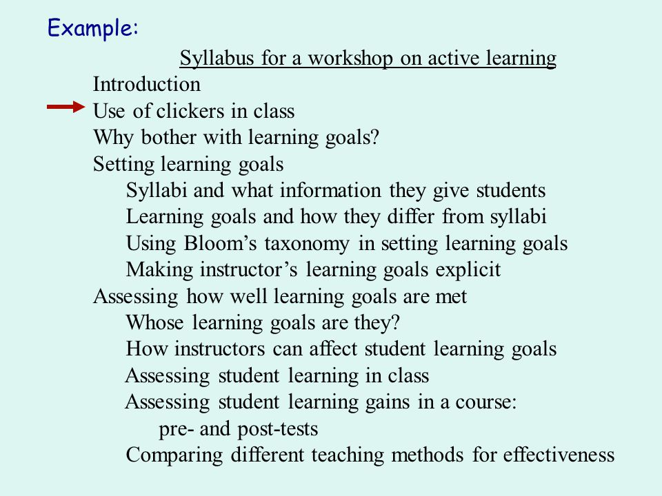 Syllabus for a workshop on active learning