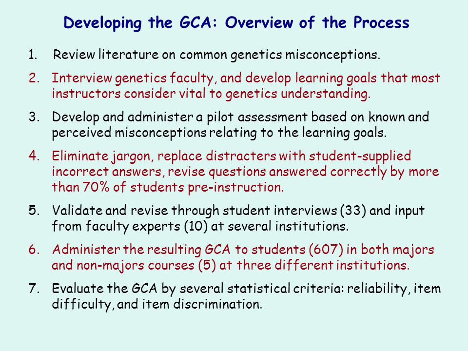Developing the GCA: Overview of the Process