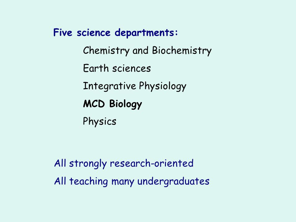 Five science departments: