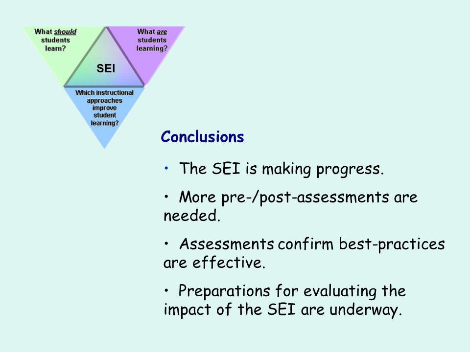 The SEI is making progress. More pre-/post-assessments are needed.