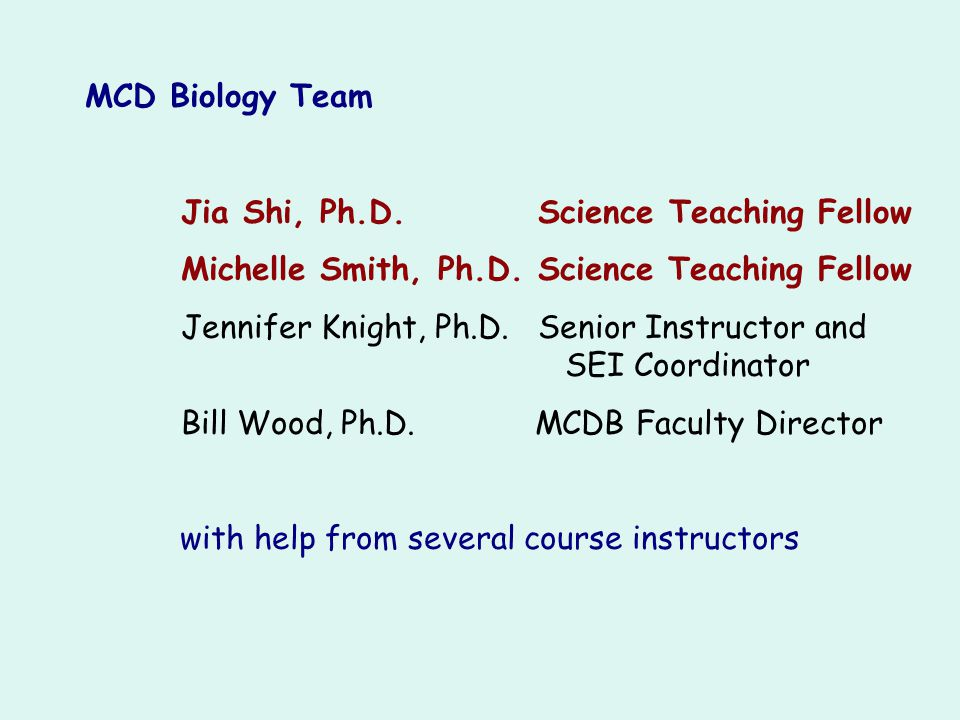 MCD Biology Team Jia Shi, Ph.D. Science Teaching Fellow. Michelle Smith, Ph.D. Science Teaching Fellow.