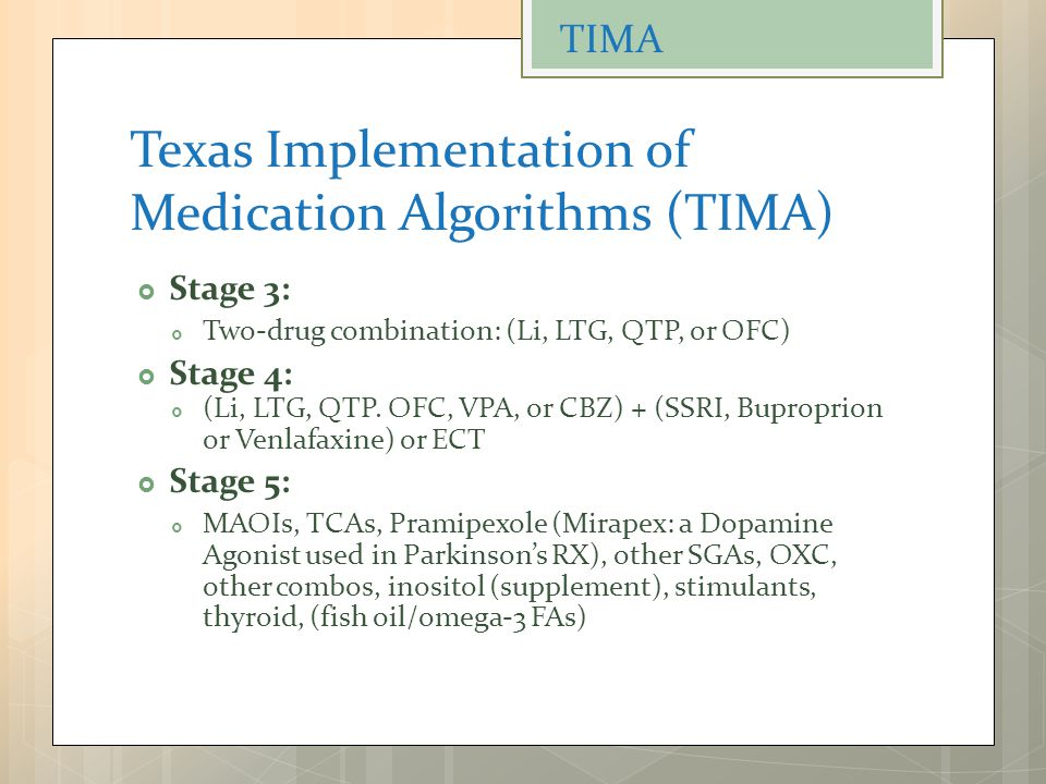 Texas Implementation of Medication Algorithms (TIMA)