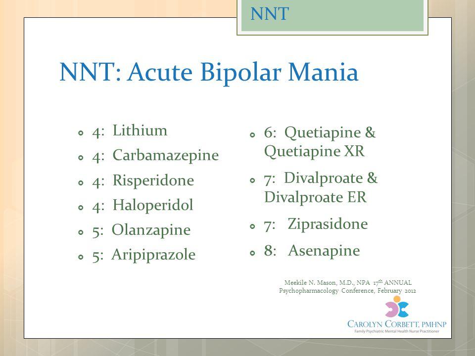 NNT: Acute Bipolar Mania