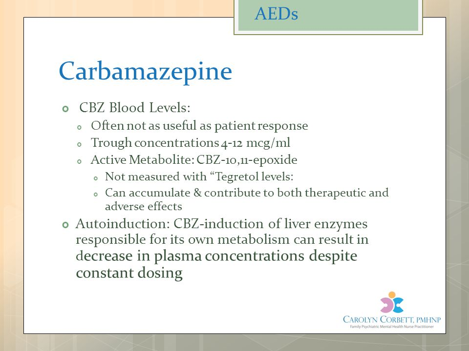 Carbamazepine AEDs CBZ Blood Levels: