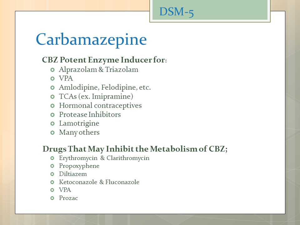 Carbamazepine DSM-5 Drugs That May Inhibit the Metabolism of CBZ;