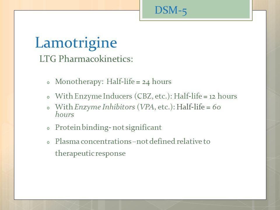 Lamotrigine DSM-5 Monotherapy: Half-life = 24 hours