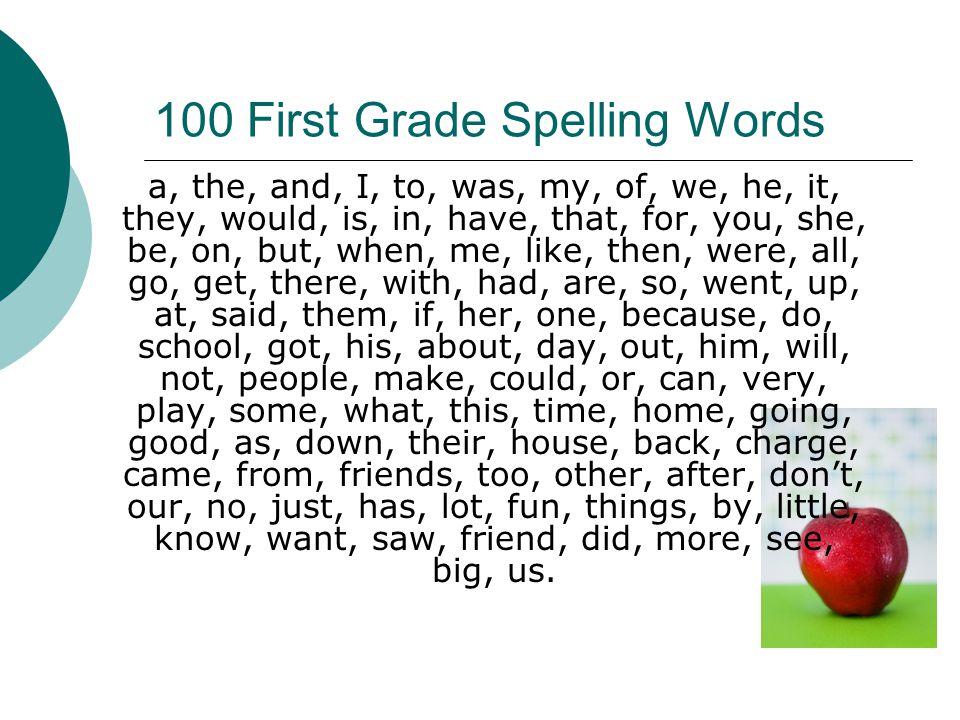100 First Grade Spelling Words